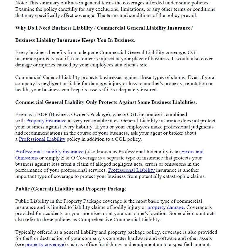 Liability Insurance Products Liability Insurance Application